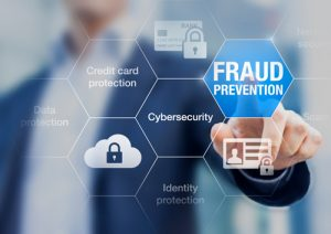 fraud prevention button concept about cybersecurity and credit card protection