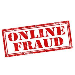 red online fraud stamp on white background